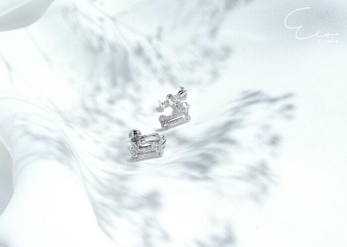 童趣耳環,動物圖案耳環,水鑽夾式耳環,無耳洞耳環,夾式耳環,韓製,韓國,耳環