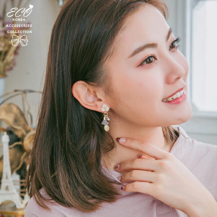 花,流蘇,夾式耳環,無耳洞耳環,韓製,韓國,耳環