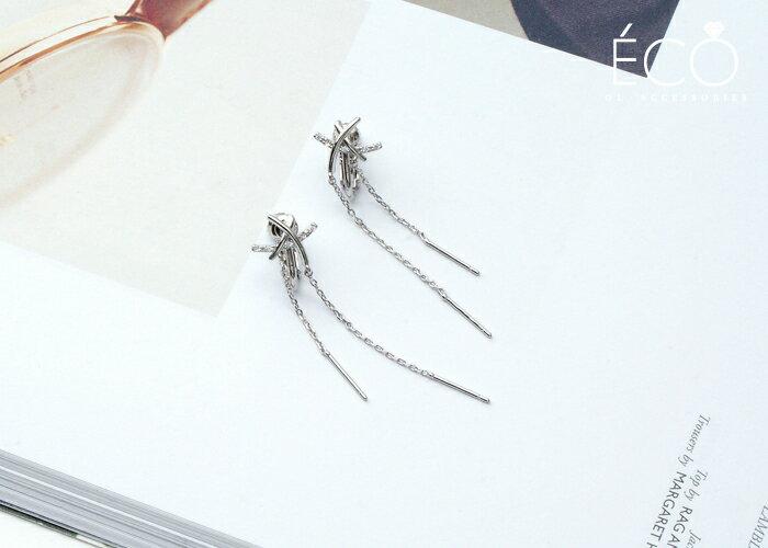 垂墜,鑽,婚宴夾式耳環,伴娘夾式耳環,無耳洞耳環,韓製,韓國,耳環