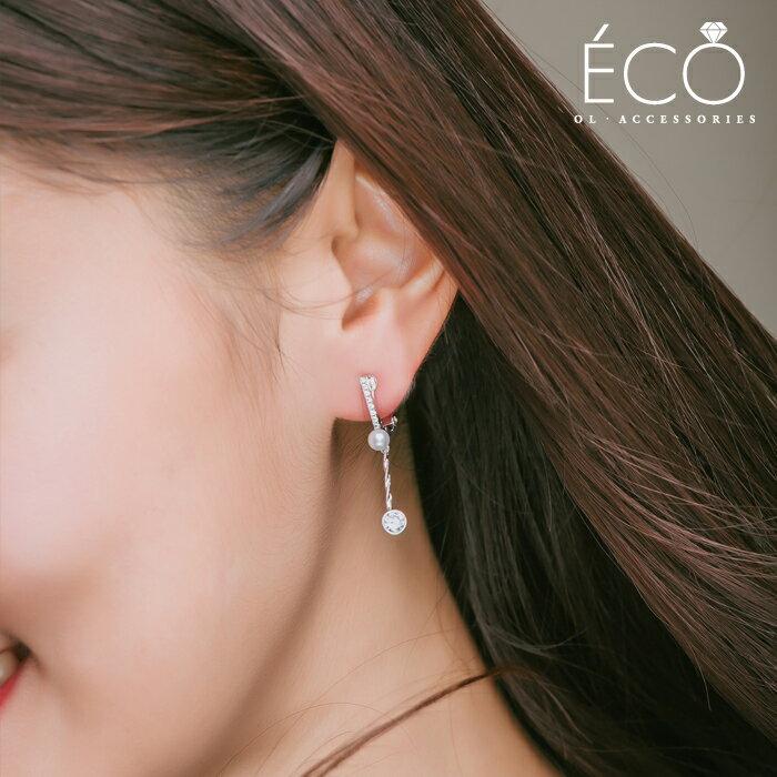 珍珠,鑽,夾式耳環,婚宴夾式耳環,伴娘夾式耳環,無耳洞耳環,韓製,韓國,耳環