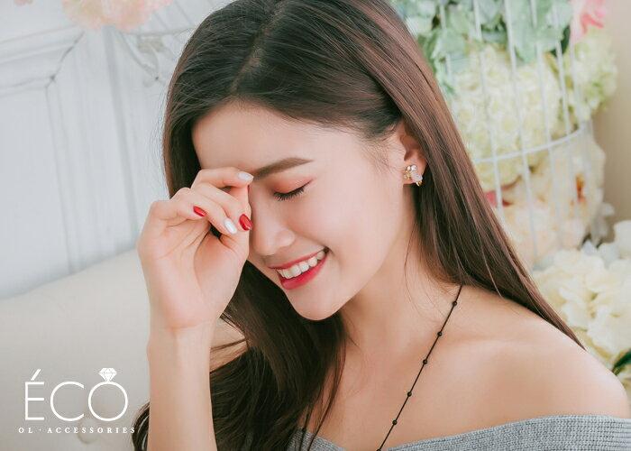 原石,鑽,花,夾式耳環,無耳洞耳環,韓製,韓國,耳環