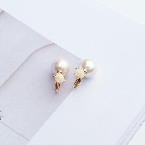 (預購)ECO安珂.純白玫瑰 夾式耳環(彈簧夾)【2-2056】