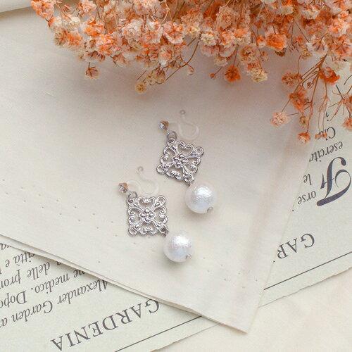 (預購)ECO安珂.夏末戀珍珠針式夾式耳環(2色矽膠夾)【2-2082】