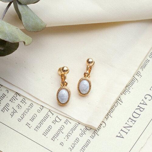 (預購)ECO安珂.大理石的優雅針式夾式耳環(2色螺旋夾)【2-2098】