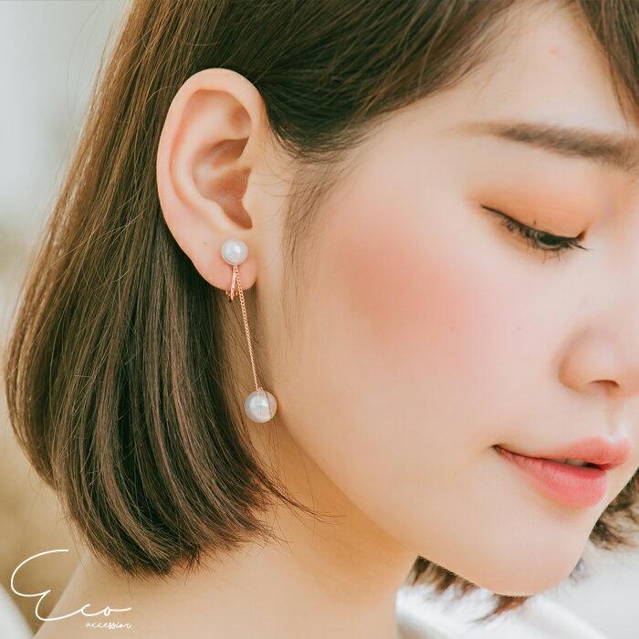 珍珠,垂墜,夾式環,無洞環,韓製,韓國,環