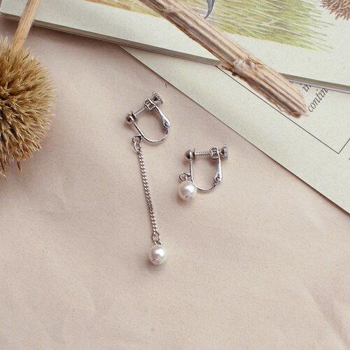 (預購)ECO安珂.眷戀珍珠針式夾式耳環(2色螺旋夾)【2-2108】不對稱