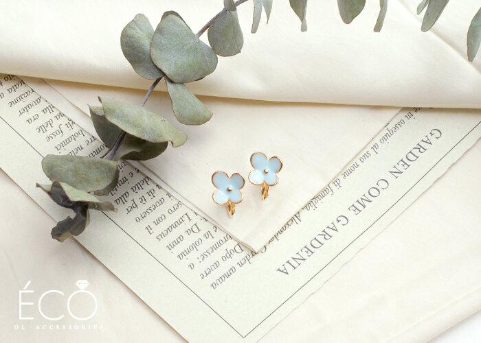 花,夾式耳環,無耳洞耳環,韓製,韓國,耳環