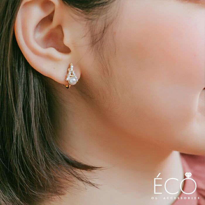 珍珠,鐵塔,夾式耳環,無耳洞耳環,韓製,韓國,耳環