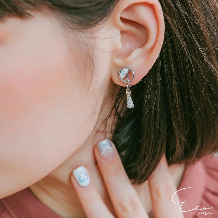 大理石,流蘇,夾式耳環,無耳洞耳環,韓製,韓國,耳環