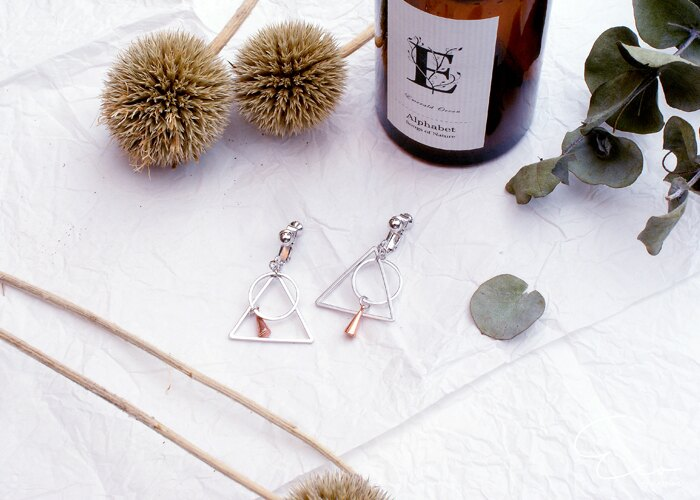 幾何,圓形,三角形,夾式耳環,無耳洞耳環,韓製,韓國,耳環