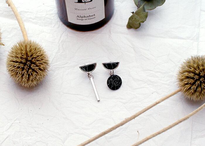 原石,幾何,大理石,夾式耳環,無耳洞耳環,韓製,韓國,耳環