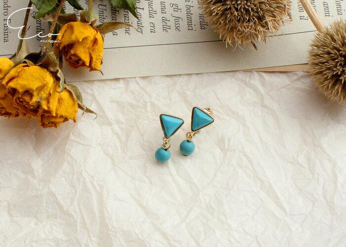 幾何,土耳其藍,夾式耳環,無耳洞耳環,韓製,韓國,耳環