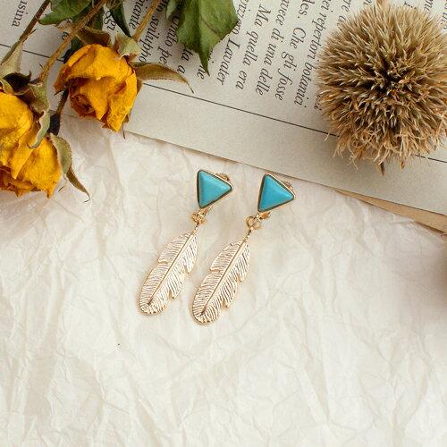 (預購+現貨)來自土耳其的羽毛夾式耳環(螺旋夾)【2-2631】