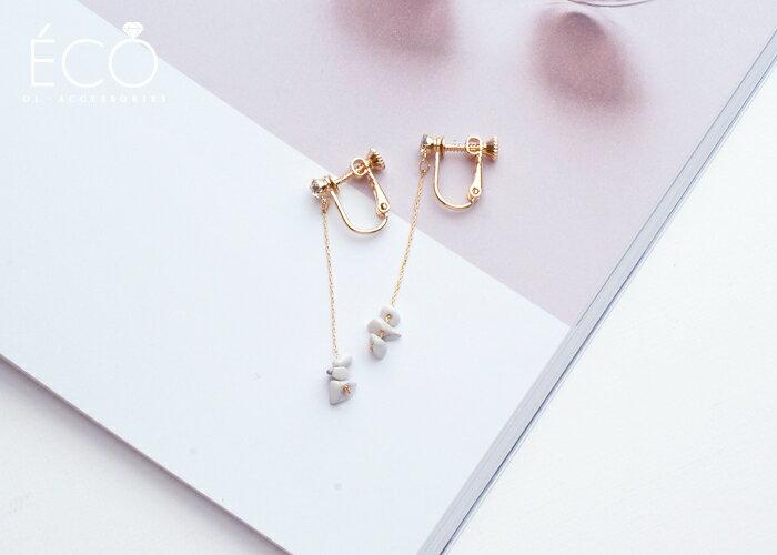 原石,垂墜夾式耳環,無耳洞耳環,韓製,韓國,耳環