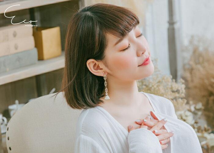 流蘇,夾式耳環,無耳洞耳環,韓製,韓國,耳環