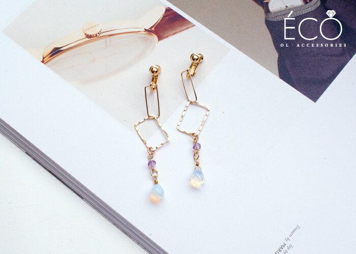 蛋白石,夾式耳環,無耳洞耳環,韓製,韓國,耳環