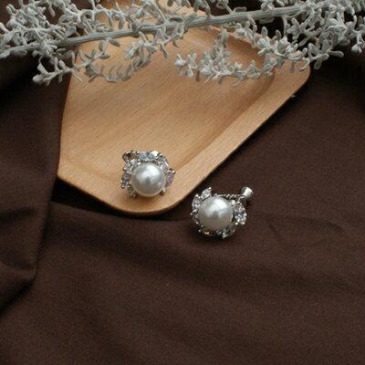 (現貨/預購)ECO安珂.永恆承諾 水滴鑽鑲珍珠 夾式耳環(螺旋夾) 【2-2665】