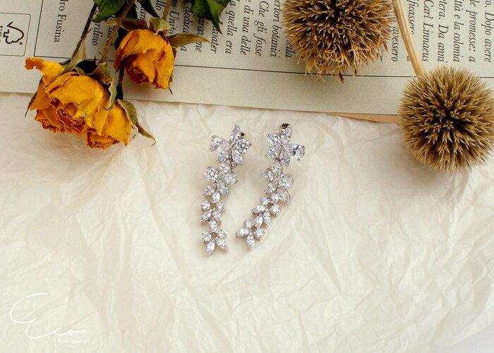 花,婚宴夾式耳環,伴娘夾式耳環,無耳洞耳環,韓製,韓國,耳環