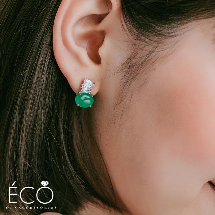 翡翠綠,婚宴夾式耳環,伴娘夾式耳環,無耳洞耳環,韓製,韓國,耳環
