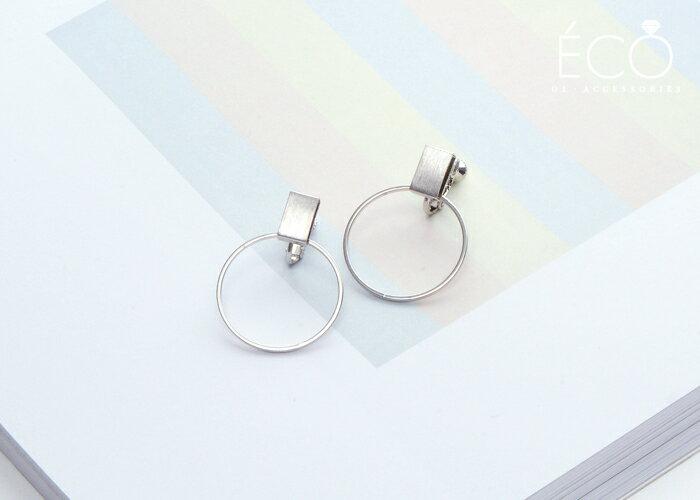 幾何,圓圈,夾式耳環,無耳洞耳環,韓製,韓國,耳環