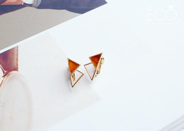 三角形,幾何,琥珀,夾式耳環,無耳洞耳環,韓製,韓國,耳環