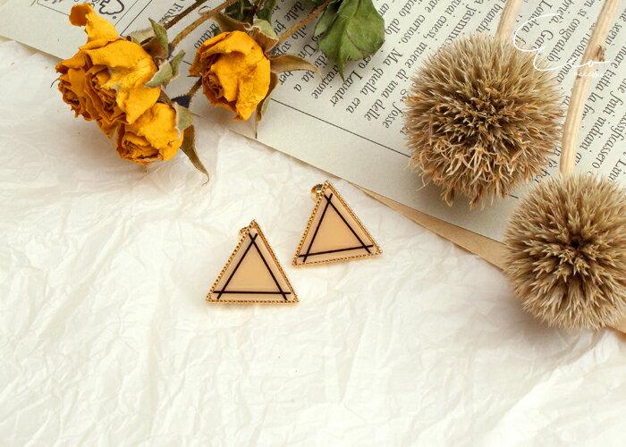 幾何,三角,夾式耳環,無耳洞耳環,韓製,韓國,耳環