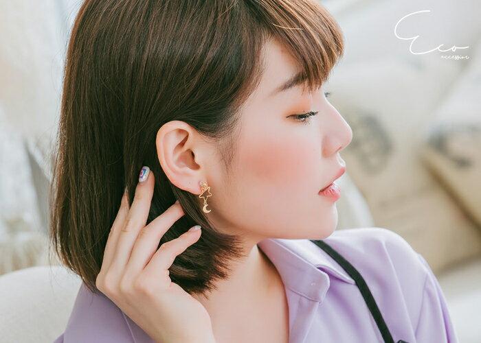 星星夾式耳環,月亮夾式耳環,矽膠夾耳環,無耳洞耳環,夾式耳環,韓製,韓國,耳環