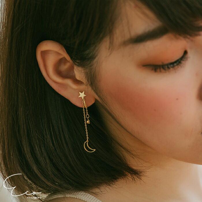 月亮,星星,夾式耳環,無耳洞耳環,韓製,韓國,耳環