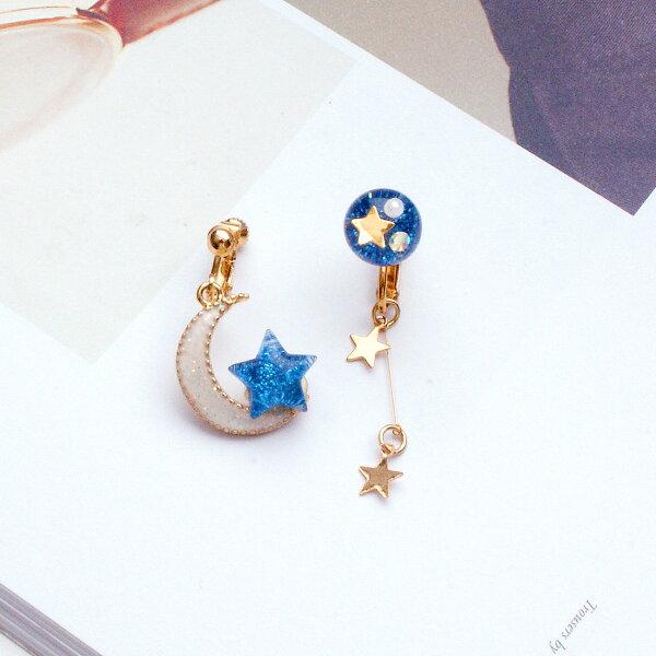 (預購)星與月的交會耳夾式耳環(螺旋夾)【2-2707】ECO安珂