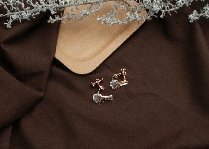 水鑽夾式耳環,蝴蝶結耳環,夾式耳環,無耳洞耳環,韓製,韓國,耳環