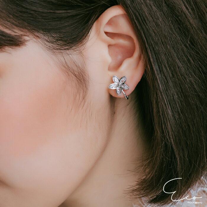 花,鑽,婚宴夾式耳環,伴娘夾式耳環,無耳洞耳環,耳環,韓製,韓國,耳環