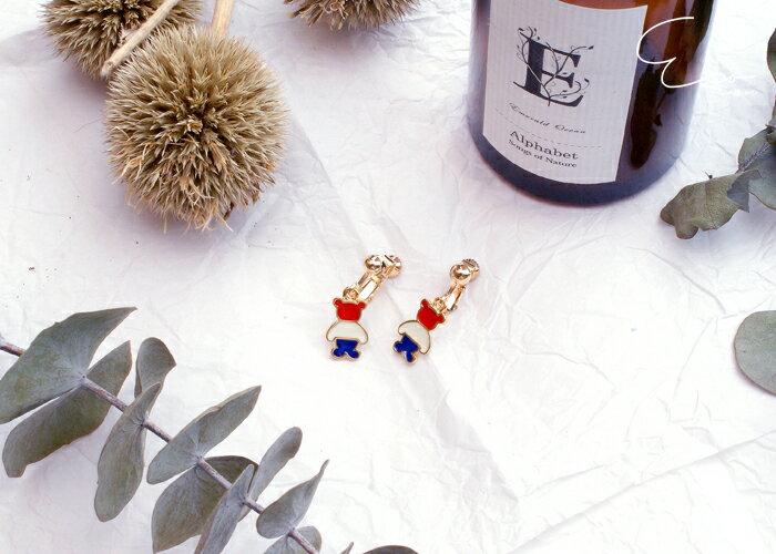 荷蘭,小熊,夾式耳環,無耳洞耳環,韓製,韓國,耳環