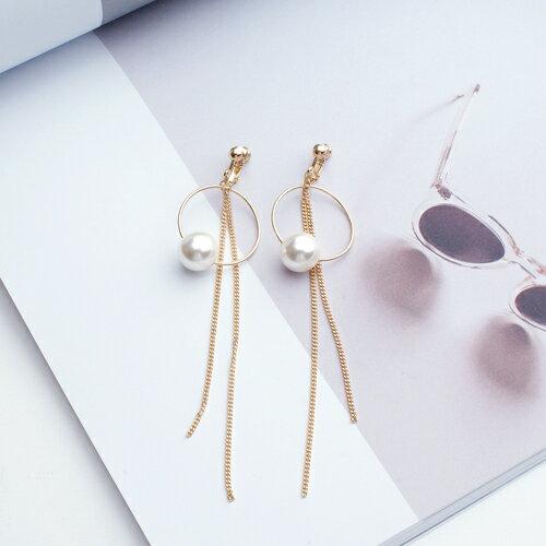 (預購)珍珠圓舞曲耳夾式耳環(2色螺旋夾)【2-2735】