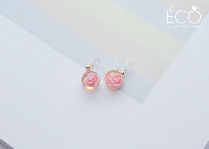 玫瑰,矽膠夾式耳環,無耳洞耳環,韓製,韓國,耳環