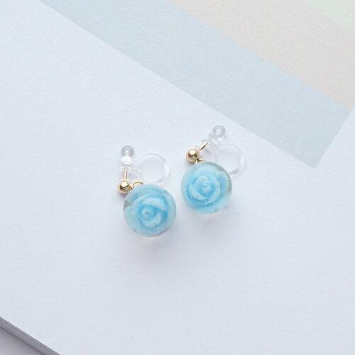 ECO安珂.水晶玫瑰 夾式耳環 2色  矽膠夾 ~2~2737~