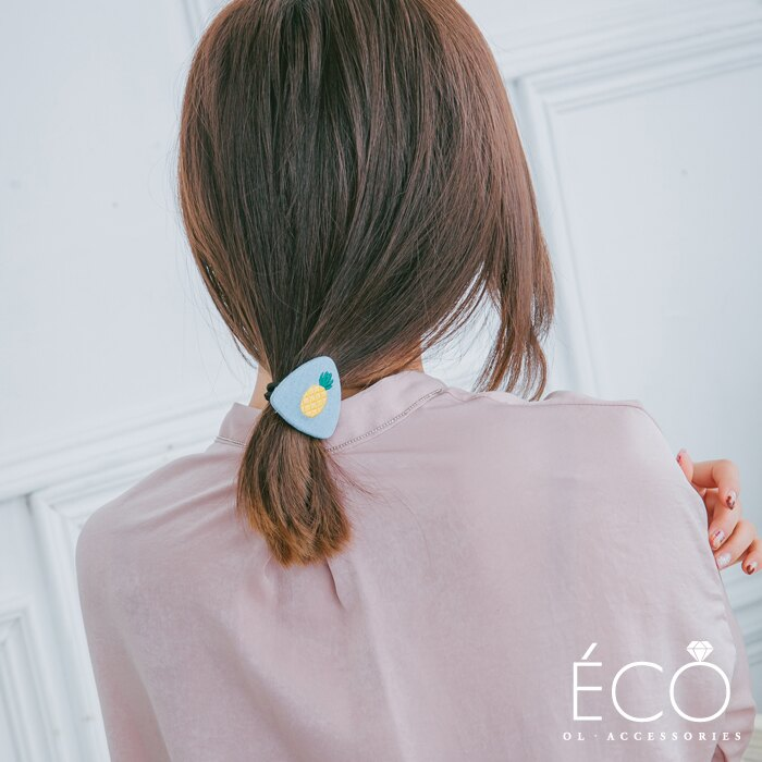 鳳梨,抓夾,髮束,韓國飾品