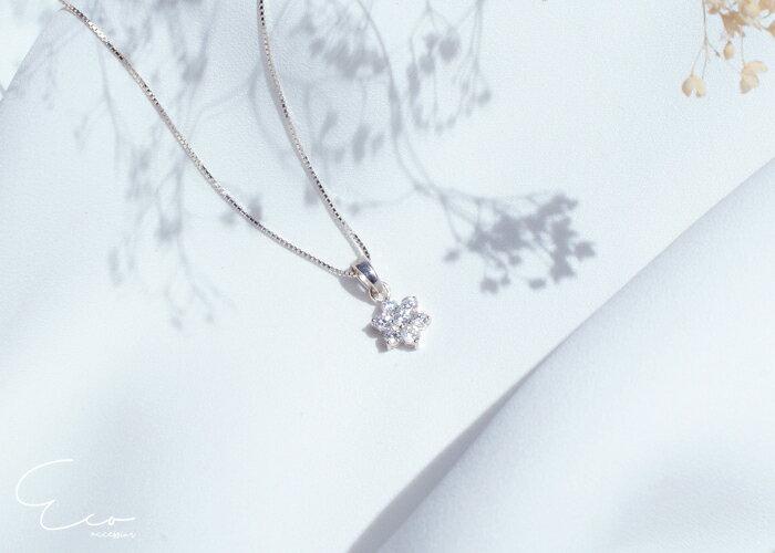 花朵,鑽,鎖骨項鍊,925純銀項鍊,純銀飾品