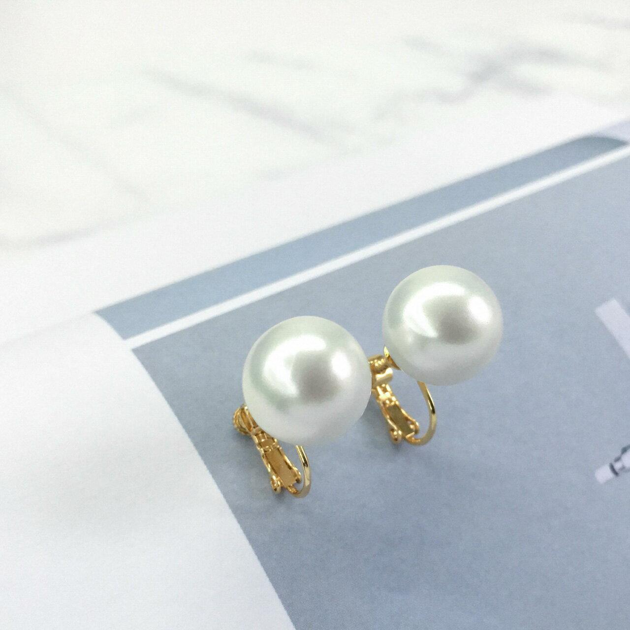 (現貨/預購) 簡單華麗   單顆珍珠 夾式耳環(螺旋夾)【 2-2054 】.ECO安珂