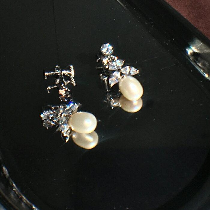 (預購) ECO style 美麗焦點 | 上花形綴鑽水滴淡水珍珠 耳夾式耳環(螺旋夾)【 2-2664 】