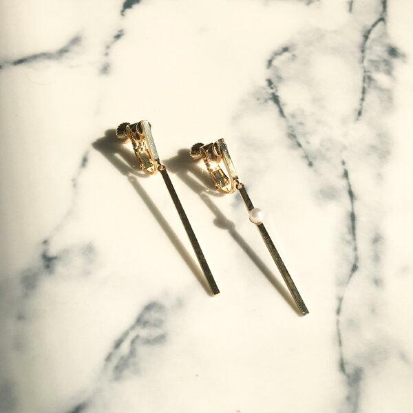 歐美女孩簡約直線耳夾式耳環(螺旋夾2色)【2-17074】