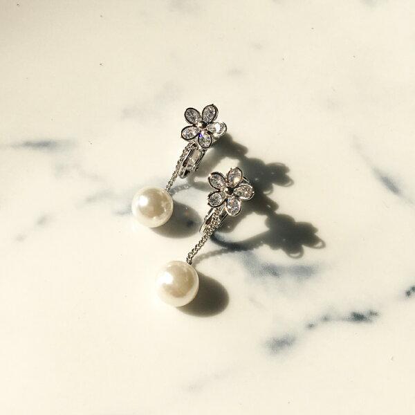 心花怒放水晶花朵珍珠耳夾式耳環耳夾(螺旋夾2色)【2-2717】