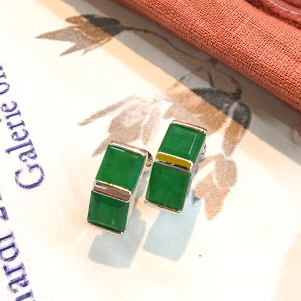 姊的時代祖母綠寶石夾式耳環(螺旋夾)【2-2672】