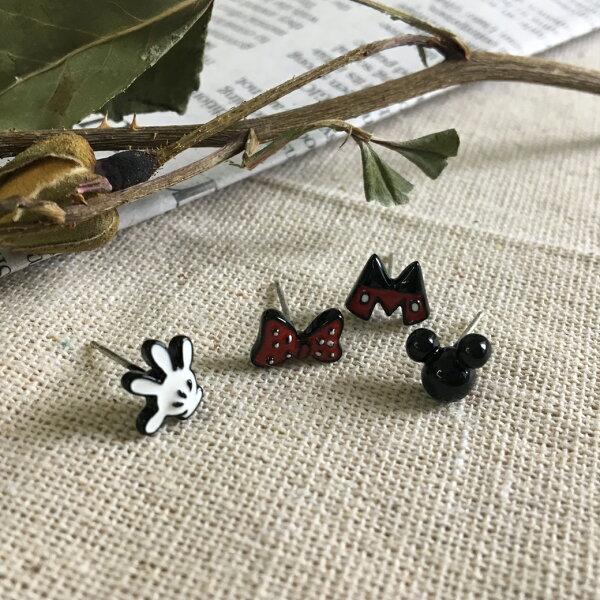 (預購)米奇米妮針式矽膠夾耳環【2-17106】