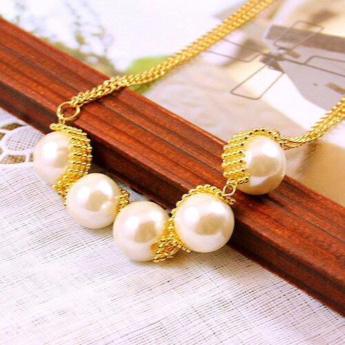 (預購+現貨)五顆珍珠排雙鍊設計短項鍊【1-1228】