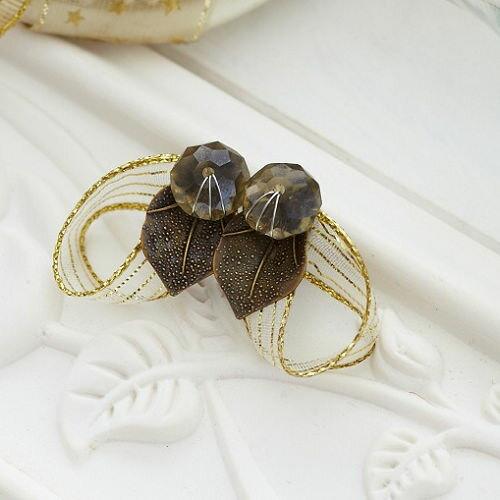 ECO安珂.寶石樹葉綴緞帶 針式耳環(不可改夾)【2-1115】
