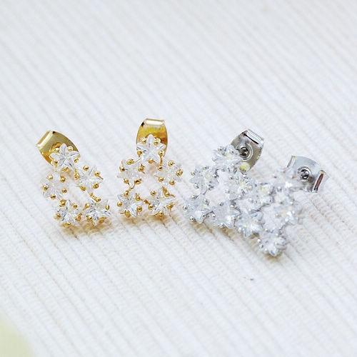 ECO安珂.五顆水鑽星星針式耳環(2色)【2-1133】