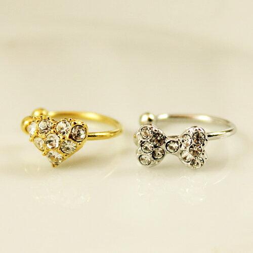(銀色蝴蝶結)ECO安珂 銀色蝴蝶結鑲鑽 耳骨夾 夾式耳環(單個販售)【2-1240】