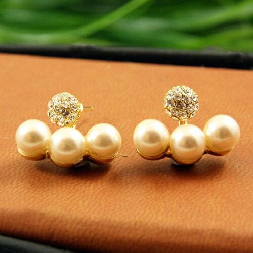 (預購+現貨)水鑽球墜三顆珍珠排耳環(多種戴法)【2-1305】