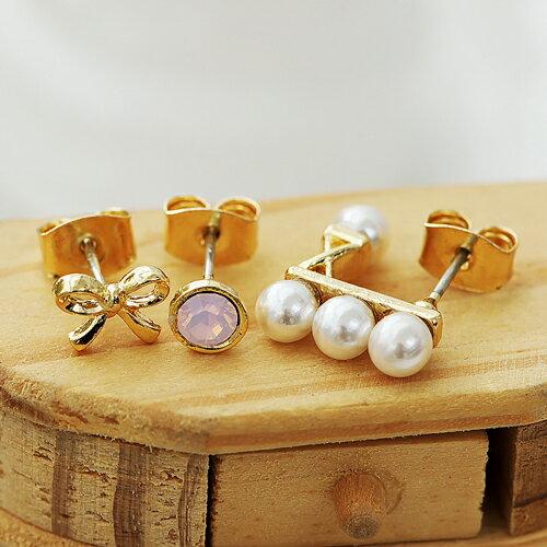 ECO安珂.(純銀耳針)春天清甜粉紅蛋白石蝴蝶結珍珠 針式耳環(2款)【2-1382】