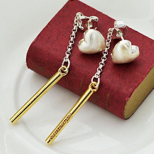 (預購+現貨)個性愛心墜金柱耳環(純銀耳針)【2-1384】